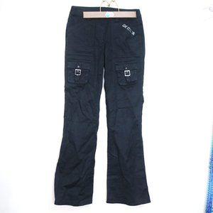 flared buckle punk rock cargo jean pants black